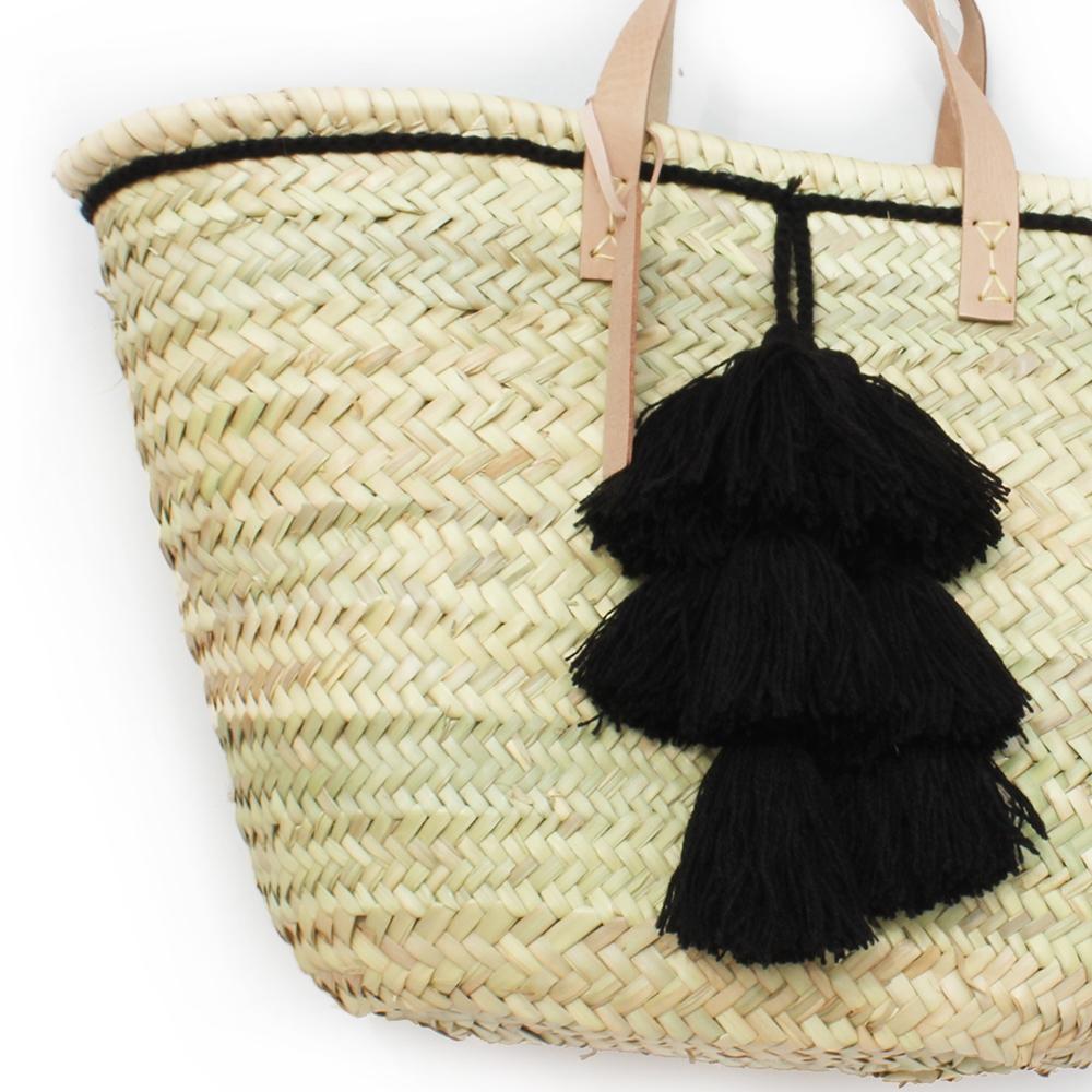 Basket small wool pom pom Black