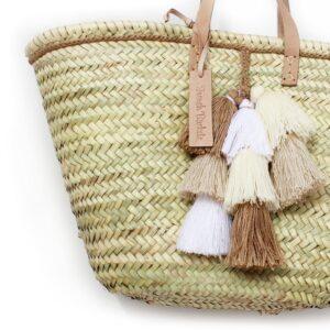 Basket small wool pom pom beige white brun