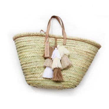 Basket small wool pom pom beige white brun