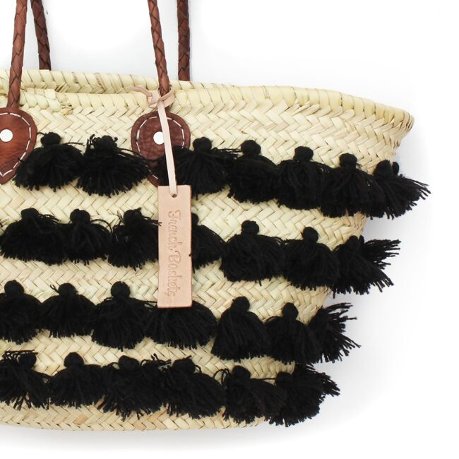 Basket small wool pom pom Black stripe