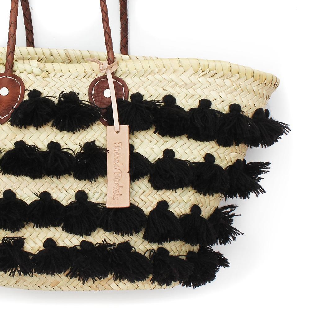 Basket small wool pom pom Black stripe