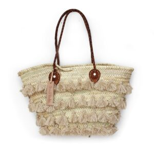 Basket small wool pom pom beige stripe