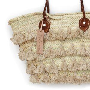 Basket small wool pom pom beige stripe