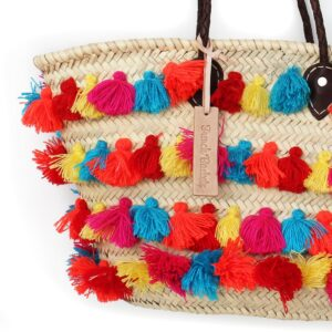 Straw Basket small wool pom pom Rainbow stripe French Baskets