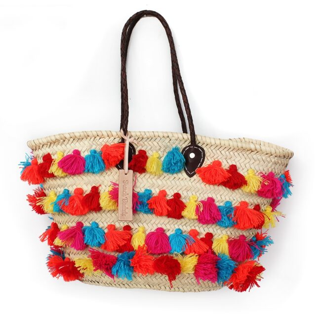 Basket small wool pom pom Rainbow stripe