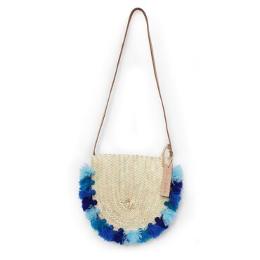 Wicker basket Leather Mail Bag long leather handle pom pom 4 bleu