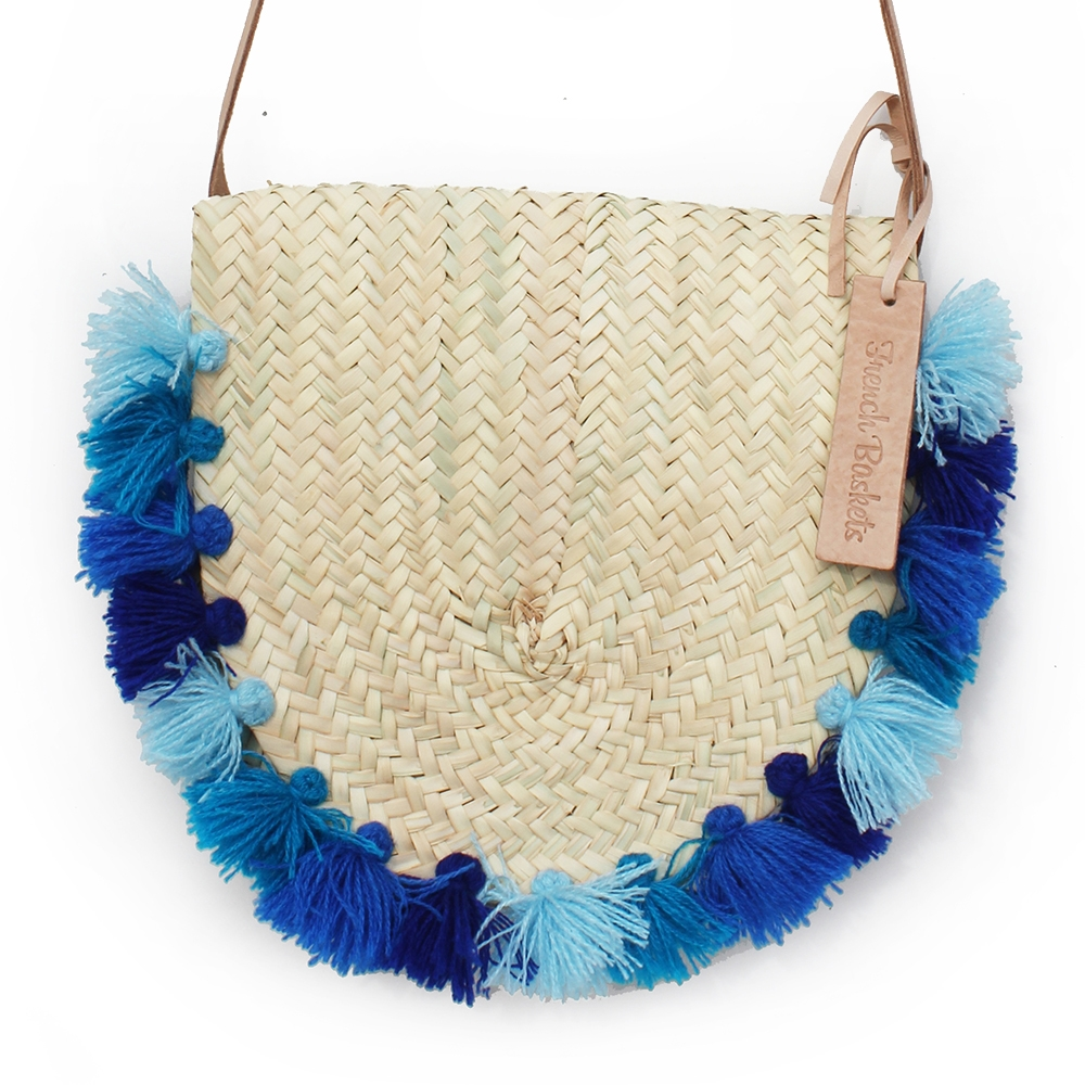 Wicker basket Leather Mail Bag long leather handle pom pom 4 bleu