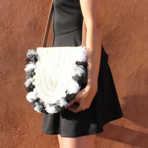 Wicker basket Leather Mail Bag long leather handle pom pom black white silver