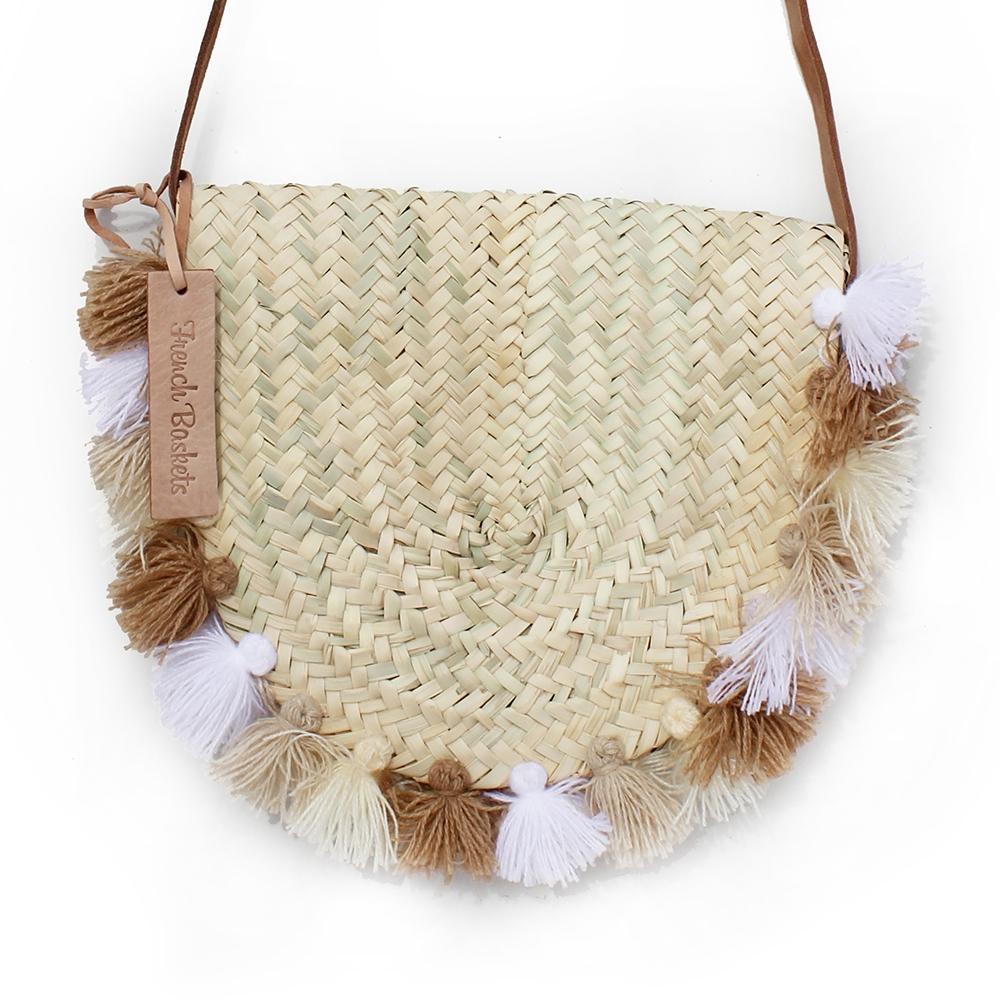 Wicker basket Leather Mail Bag long leather handle pom pom beige brun white