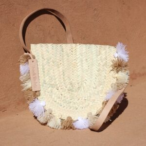Wicker basket Leather Mail Bag long leather handle pom pom beige brun white