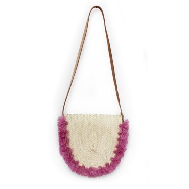 Wicker basket Leather Mail Bag long leather handle pom pom Raspberry