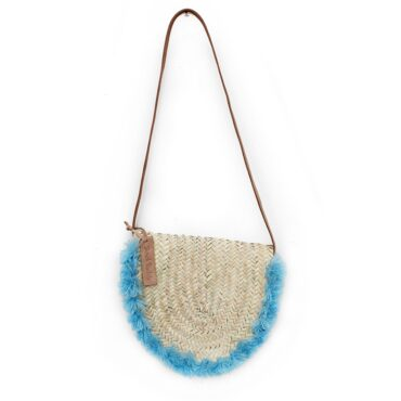 Wicker basket Leather Mail Bag long leather handle pom pom Blue