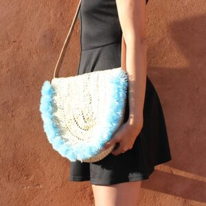 Wicker basket Leather Mail Bag long leather handle pom pom Blue