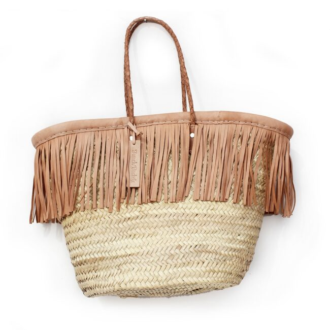 Baskets small Fringe Leather natural