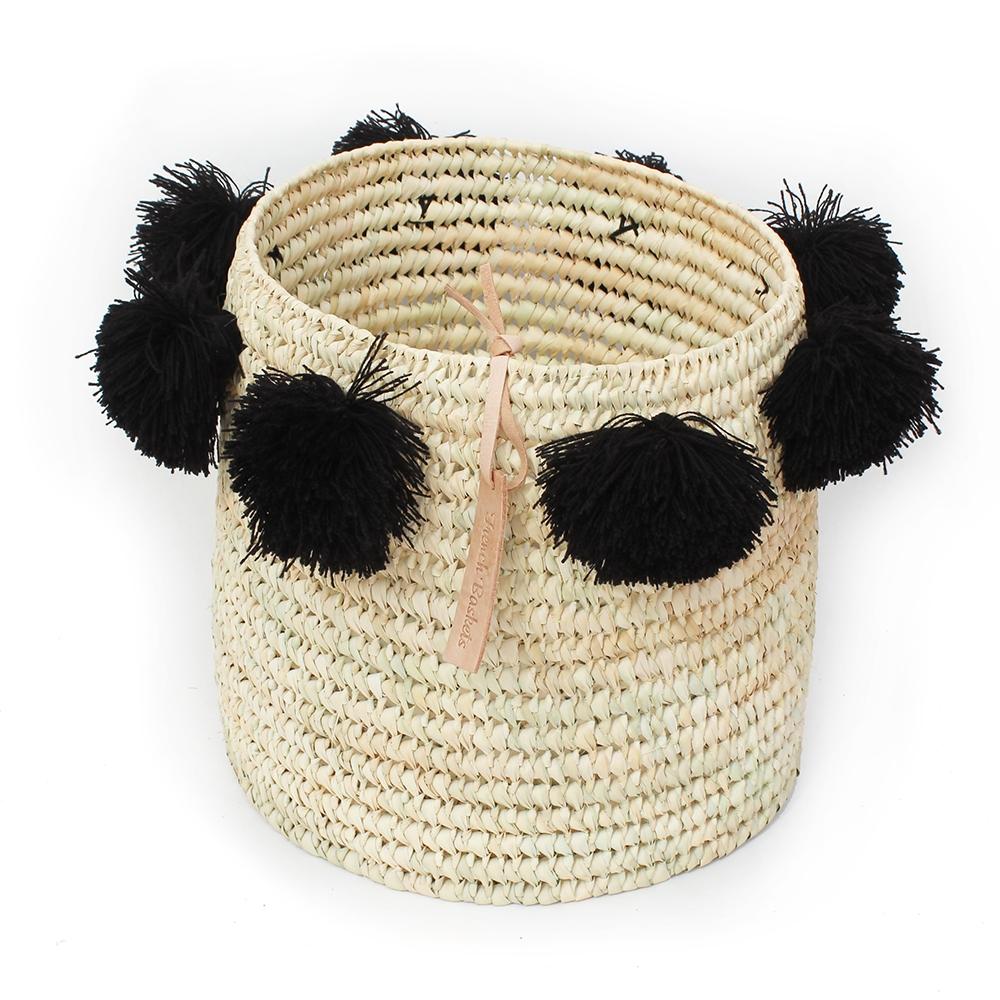 laundry basket wool Pom Pom Black