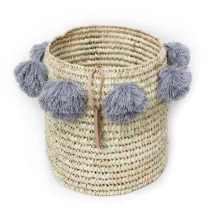 laundry basket wool Pom Pom gray