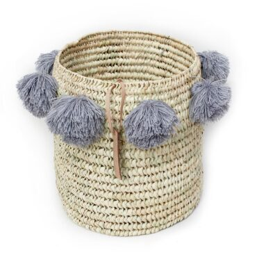 laundry basket wool Pom Pom gray