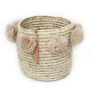laundry basket wool Pom Pom beige