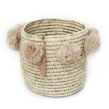 laundry basket wool Pom Pom beige