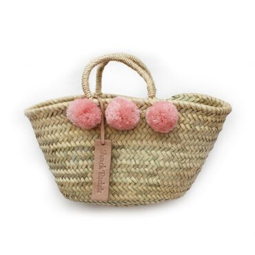 Natural Basket Beldi Small Pom Pom pink