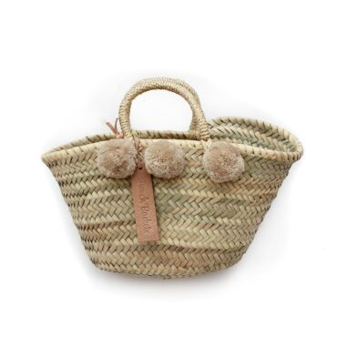 Natural Basket Beldi Small Pom Pom beige