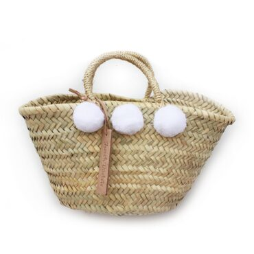 Natural Basket Beldi Small Pom Pom white