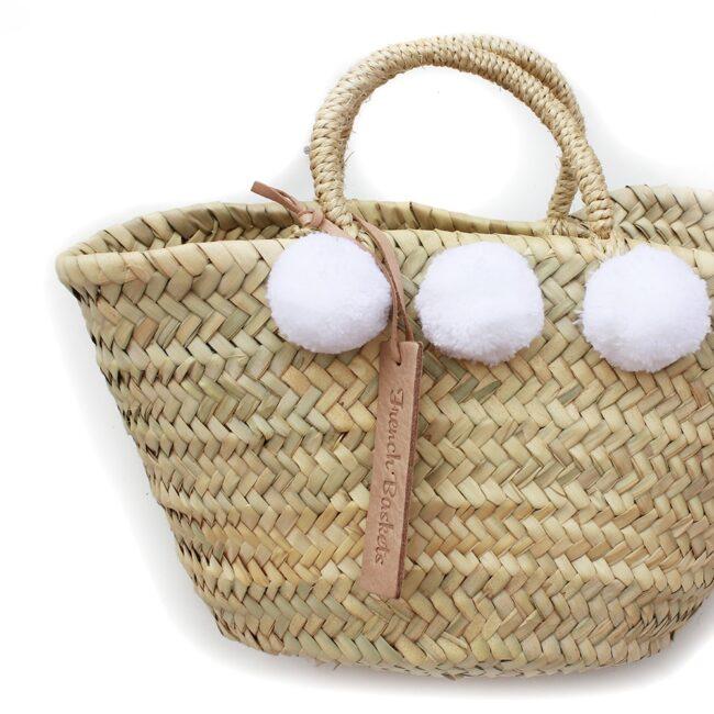 Natural Basket Beldi Small Pom Pom white