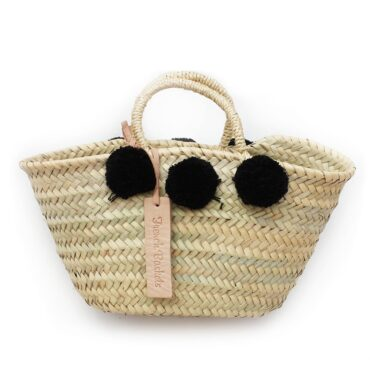 Natural Basket Beldi Small Pom Pom Black
