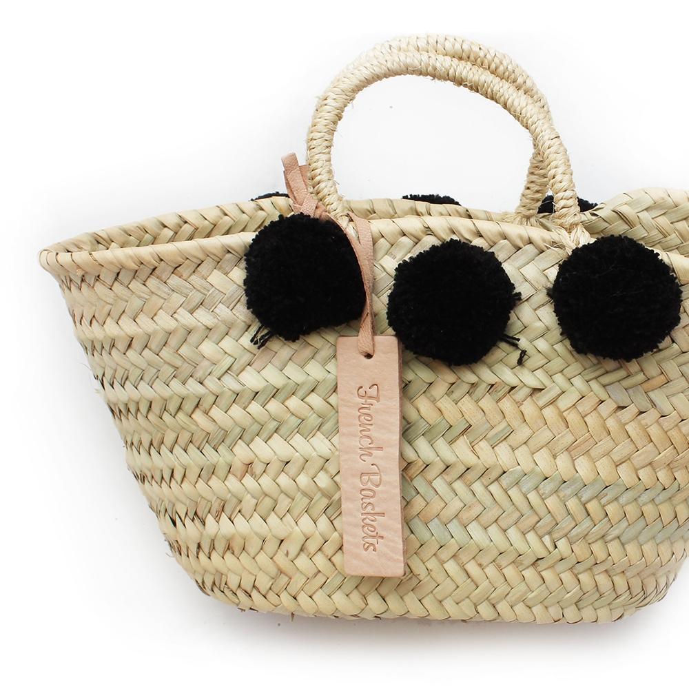 Natural Basket Beldi Small Pom Pom Black