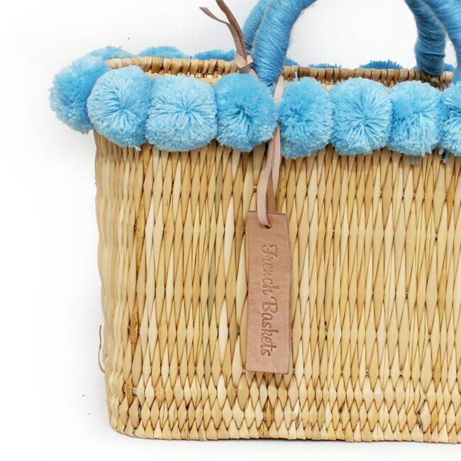 lovely Basket Oblong Small Pom Pom Blue