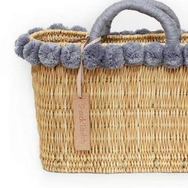 lovely Basket Oblong Small Pom Pom gray