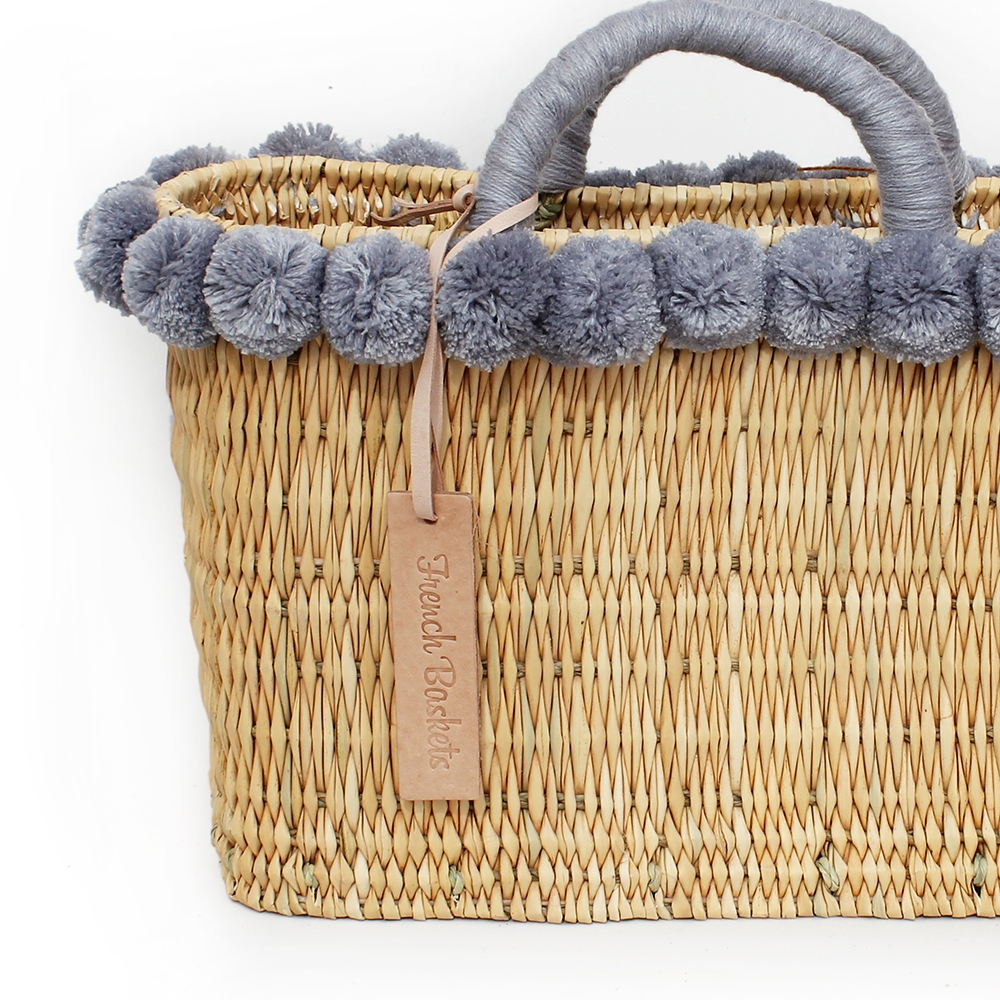 lovely Basket Oblong Small Pom Pom gray