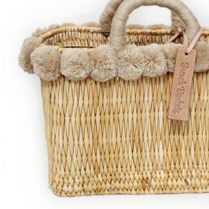 lovely Basket Oblong Small Pom Pom beige