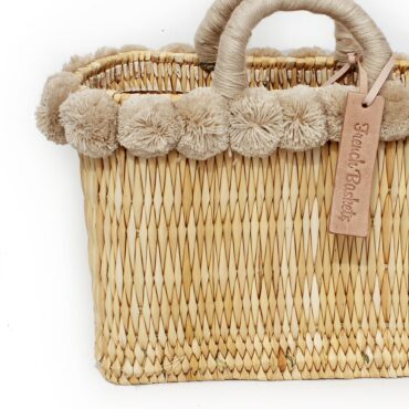 lovely Basket Oblong Small Pom Pom beige