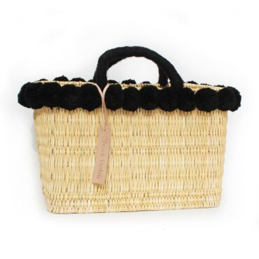 lovely Basket Oblong Small Pom Pom black