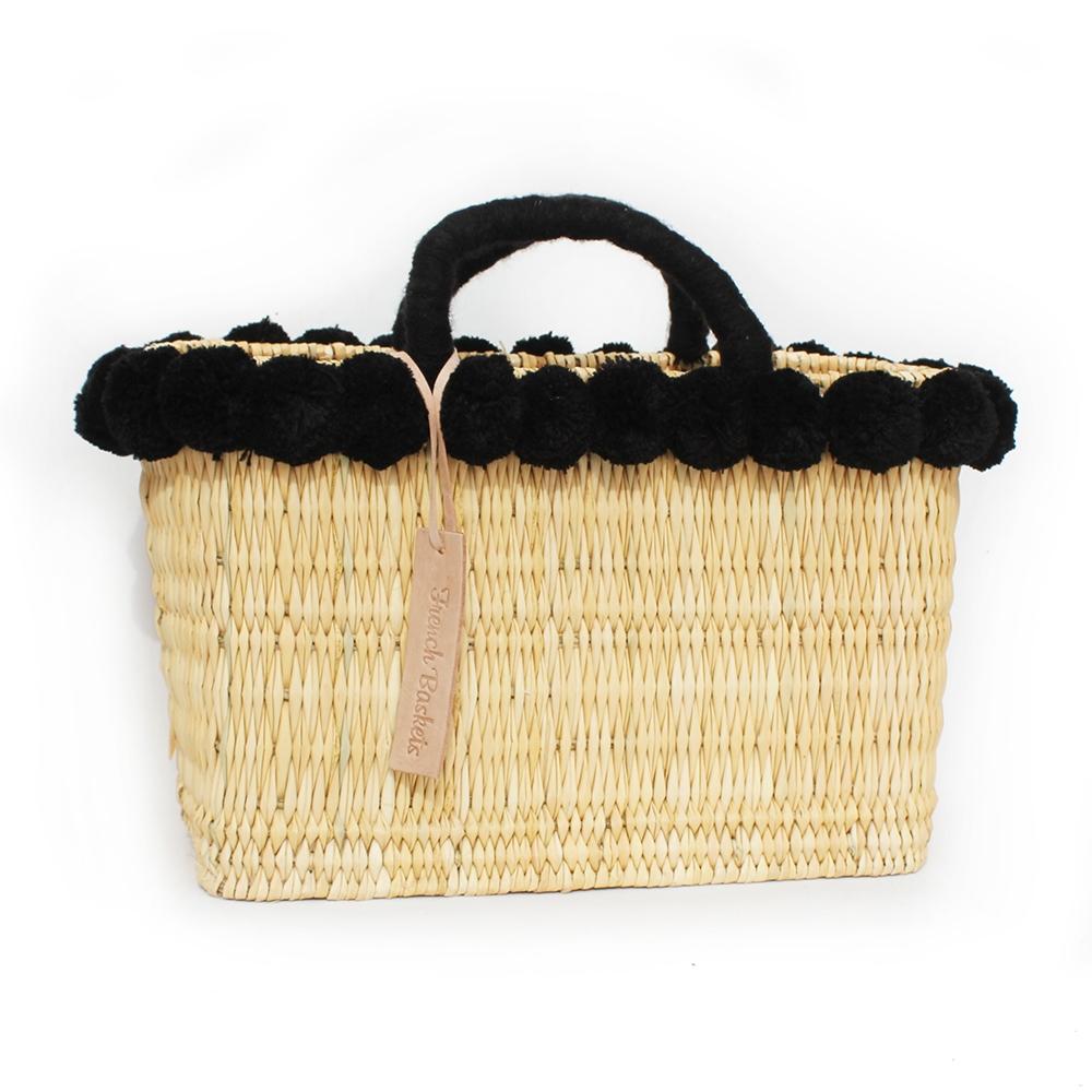 Moroccan Baskets lovely Basket Oblong Small Pom Pom black