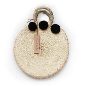 dainty Basket round Small Pom Pom black
