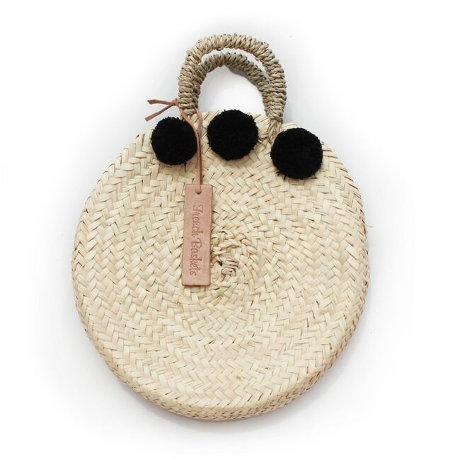 dainty Basket round Small Pom Pom black
