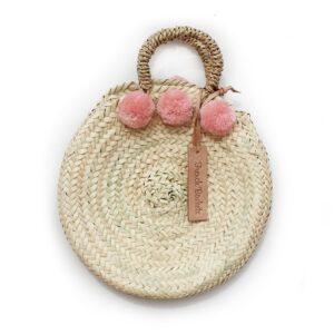 dainty Basket round Small Pom Pom pink