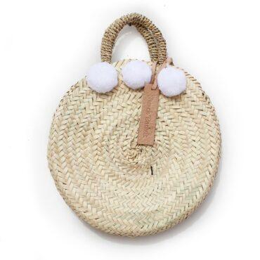 dainty Basket round Small Pom Pom white