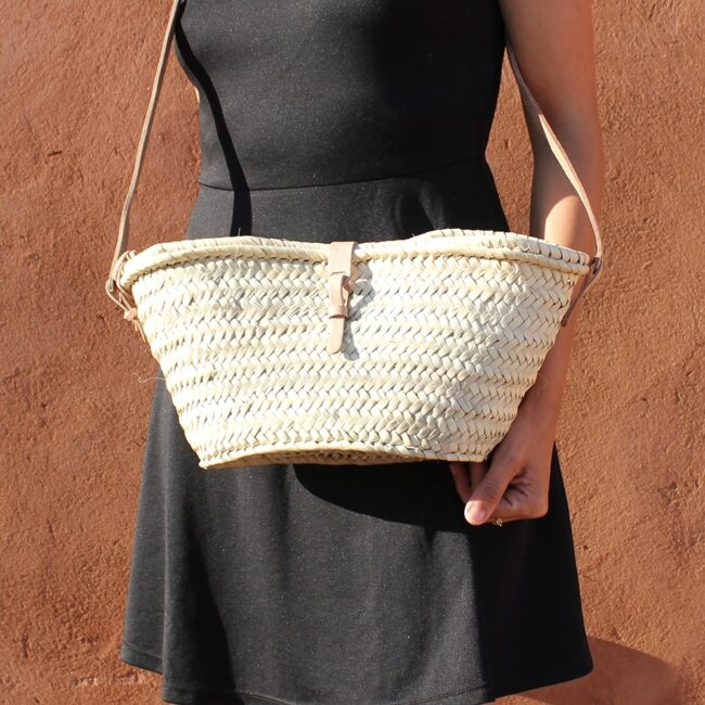 Joséphine Mini basket with leather natural closure