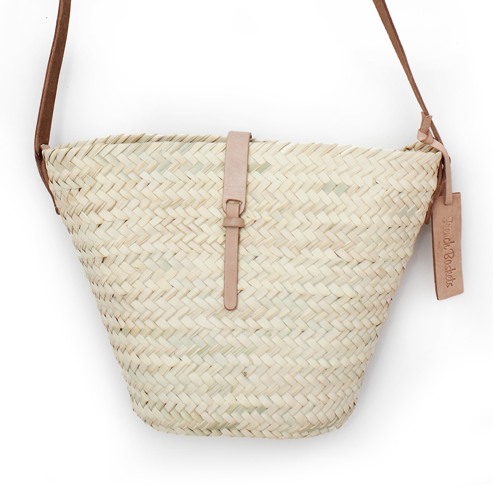 Adèle Mini basket with leather natural closur