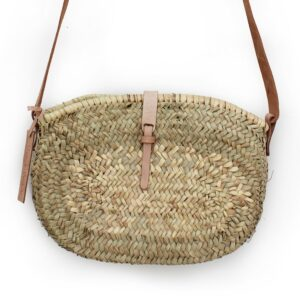 Jeanne Mini basket with leather natural closure
