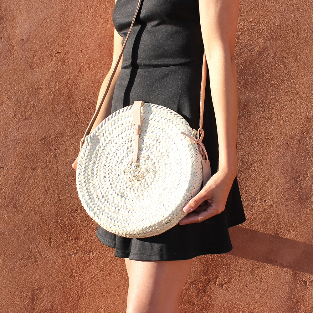 Rose Mini basket round with leather natural closure