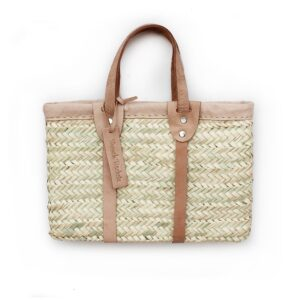 jackie small basket with leather natural