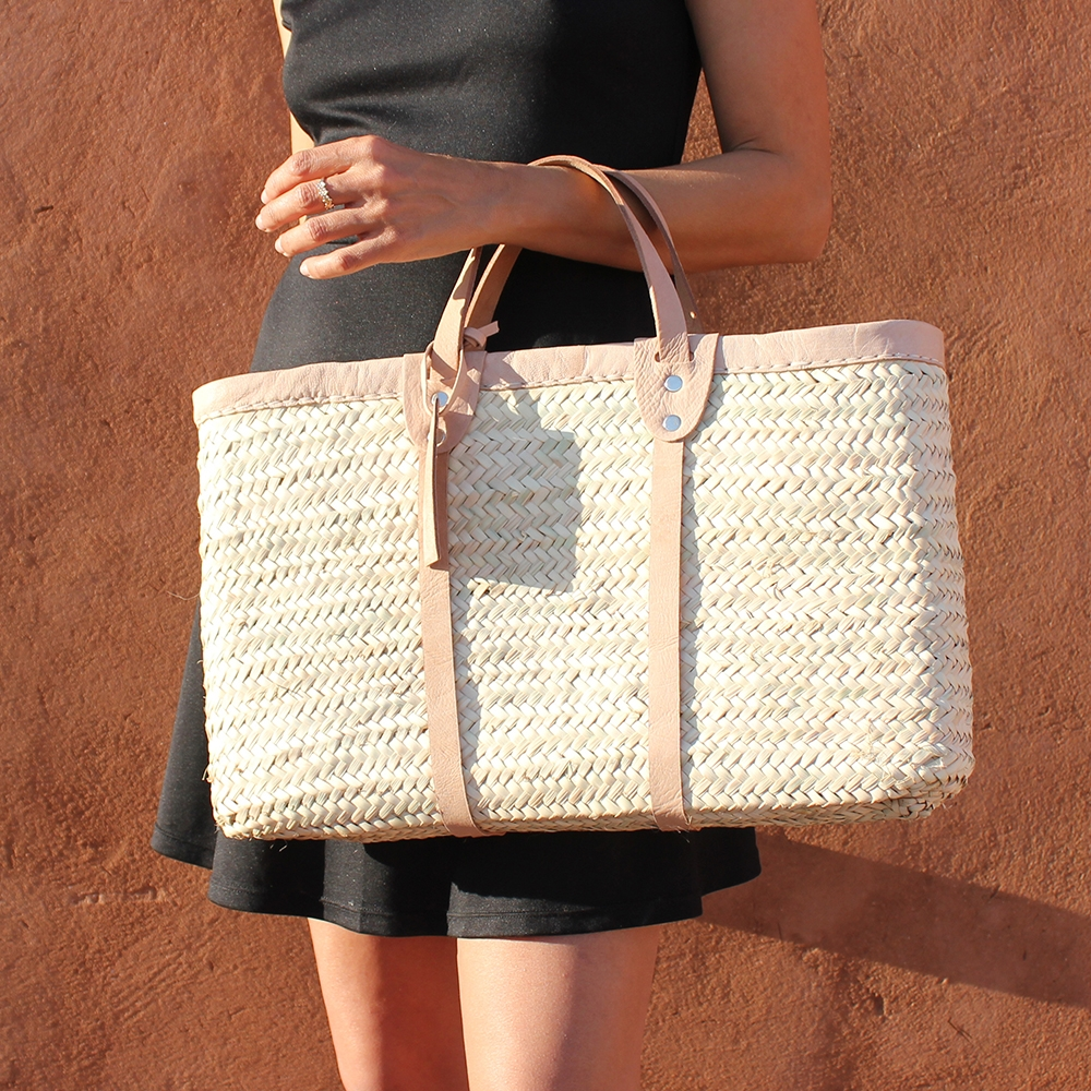 jackie Medium basket with leather natural