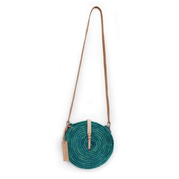 natural straw raffia bag round green leather natural closure