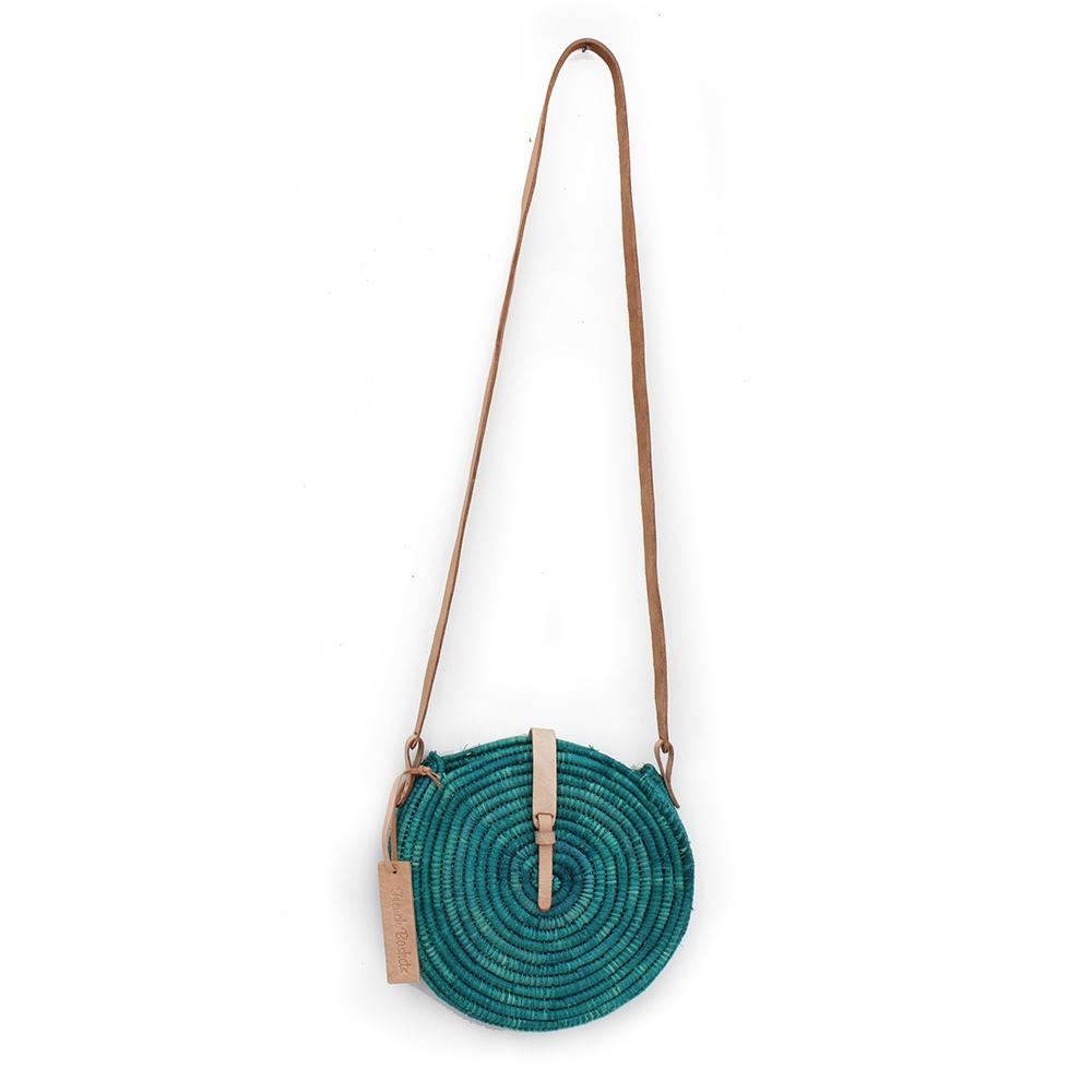 natural straw raffia bag round green leather natural closure