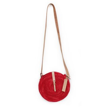 natural straw raffia bag round red leather natural closure