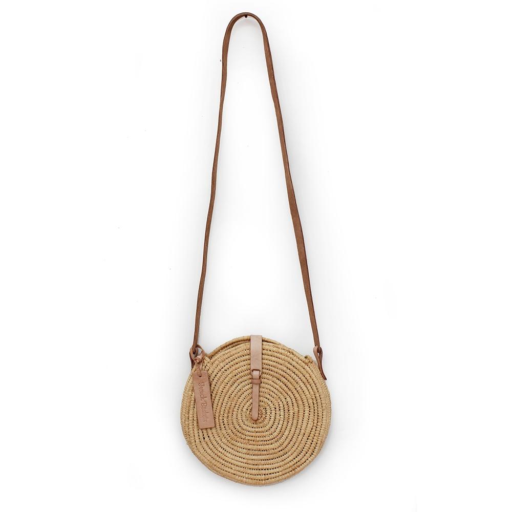 natural straw raffia bag round Natural leather natural closure